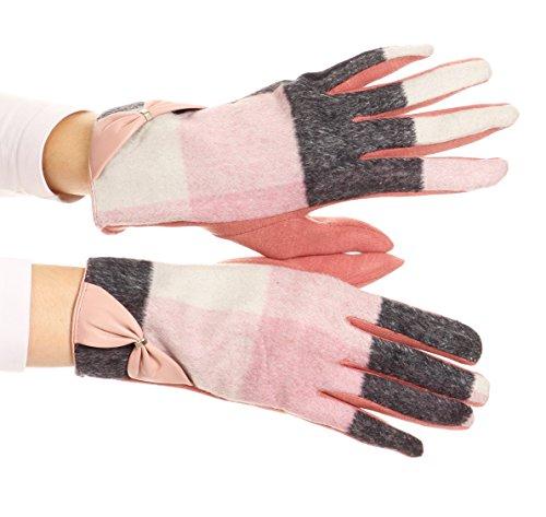 Designer Inspirierte Plaid (Sakkas GL17 - Liya Classic Warm Driving Touch Screen Capable Stretch Handschuhe Fleece gefüttert - 17102-rose - S / M)
