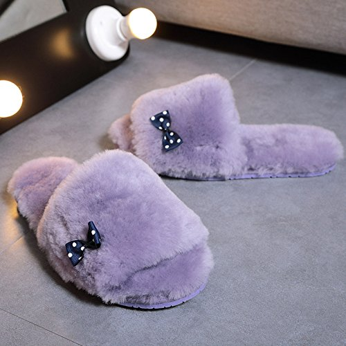 Mhgao da donna casual pantofole in lana interno per mantenere caldo in autunno e in inverno scamosciato pantofole 5