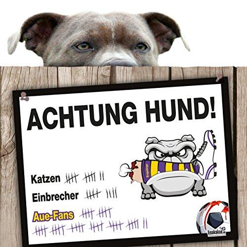 Hunde-Warnschild Schutz vor AUE-Fans | Dynamo Dresden-, FSV Zwickau & alle Fußball-Fans, Dieser Revier-Markierer schützt Haus & Hof vor AUE-Fans | Achtung Vorsicht Hund Bissig -