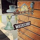 Decorativo timbre de la puerta Personalidad Vintage Rústico Hierro Fundido Cartel de bienvenida Anillo Campana Metal Granja Decoración de la pared Campana de la puerta Estilo antiguo Campana de la cen