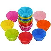 LIHAO 40 Moules à Muffin Moules de Cuisson en Silicone Réutilisables Anti-Adhésif pour Cupcake Gteau Décoration