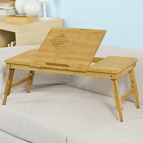 SoBuy®Tavolo portatile, Vassoio da letto,Supporto per laptop, in bambù,altezza