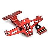 Universal CNC Aluminium Motorrad Hintere Kennzeichenhalter Nummernschildhalter mit LED-Licht für Kawasaki Z650 Z750 Z800 Z1000 Z900 Z300 Z250 (Rot)