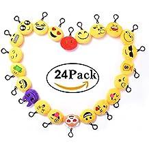Mini Emoción Emoji Llavero Peluche, Emotion Keychain Plush 6cm Para Contrato, boda de San Valentín, la fiesta, Decoración del coche (Set de 24pcs)