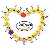 4cd575e5c9 24 pezzi Mini Portachiavi Emoji - Faccine Portachiavi Emoticon Più Usate su  Whatsapp - Morbidi e