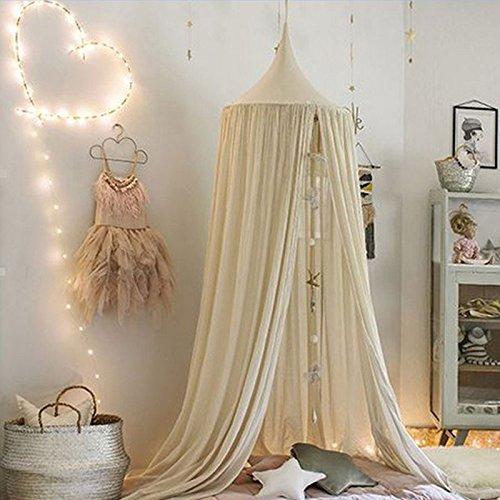Duoying Khaki Kinder Baby Bettwäsche Runde Dome Betthimmel Netting Bedeckung Moskitonetz