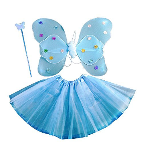 �dchen 4PCS Fee Schmetterling Stirnband Tutu Rock Halloween Party Kostüm Set (Halloween-kostüme Für Eine Halloween-party)