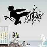 BFMBCH Kickboxing Mignon Décoration Vinyle Autocollant Mural Chambre Des Enfants Mural Autocollant Mural Budokan Art Amovible Autocollant Mural Gris L 43cm X 81cm...