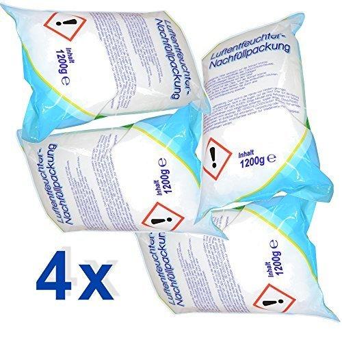 4 x Raumentfeuchter-Nachfüllpackungen à 1,2 kg - verhindert Schimmel, Moder, üble Gerüche, Stockflecken - Raum-Entfeuchter -