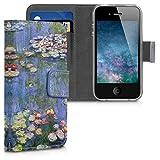 kwmobile Apple iPhone 4 / 4S Custodia Portafoglio - Cover Magnetica con Stand in Simil Pelle - Case Porta Carte per Apple iPhone 4 / 4S
