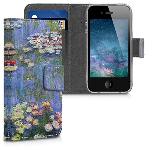 kwmobile Apple iPhone 4 / 4S Hülle - Kunstleder Wallet Case für Apple iPhone 4 / 4S mit Kartenfächern und Stand