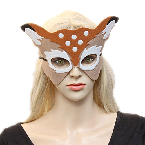yimosecoxiang yimosecoxiang New Halloween Make Up Requisiten speziellen Festival bietet Halloween Party Masquerade Ball Cute Half Deer Face Maske Kinder Erwachsene Zubehör (Michael Myers Kid Clown Kostüm)