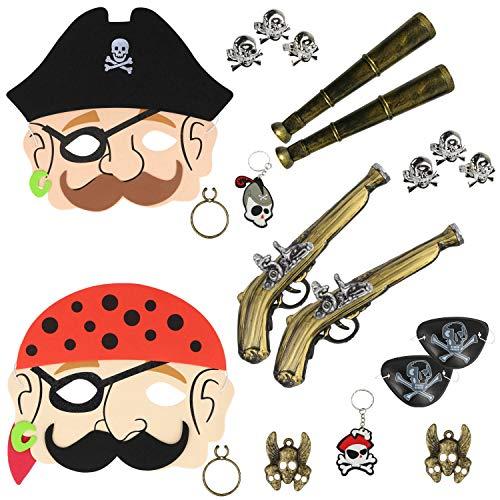 com-four® 20-teiliges Zubehör-Set für Piraten-Kostüme - Ideal für Karneval, Motto-Partys und Kostümveranstaltungen (20-teilig - Piratenset) (Fantasy Motto Party Kostüm)