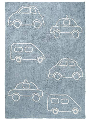 Benuta Kinderteppich Bambini Cars, Baumwolle, Blau, 120 x 180.0 x 2 cm