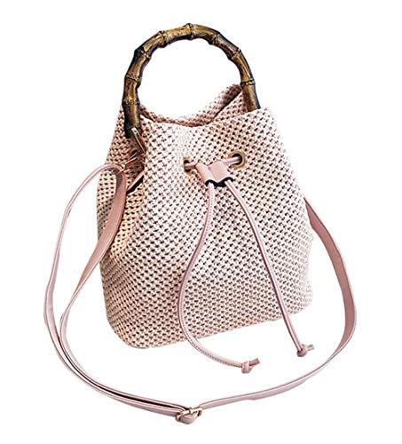 Eastery Handtaschen Damen 2018 Sommer Neu Henkel Gehäkelt Beutel Mode Casual Einfacher Stil Umhängetasche Elegant Einfarbig Bambus Messenger Bag (Color : Rosa, Size : One Size) - Gehäkelte Beutel
