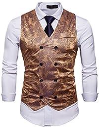 7519056b3f285d Zhiyuanan Herren Chic Gedruckt Ärmellose Jacke Blazer Gilet Große Größe Anzug  Weste V-Ausschnitt Zweireihig