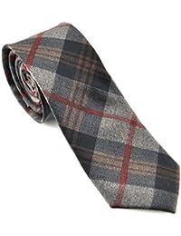 PenSee Men's Cotton Skinny Necktie Geometric Plaid Checks Tie-Various Colors
