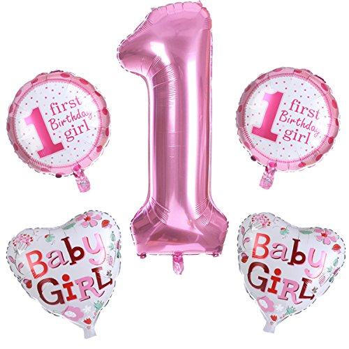 knowing 5 Stücke Folienballon,Herz Ballons,Digitaler Ballon,Niedlicher rosa Ballon,Erste Geburtstags-Party-Dekoration des Mädchens, Mädchen-Rosa