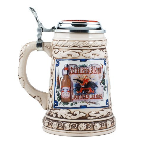 anheuser-busch-collectors-stoneware-stein-with-pewter-lid-limited-edition-75-liter-by-m-cornell-impo