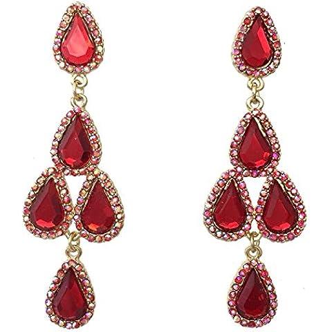 Rojo AB Rhinestone Prom Formal Dorado Cluster diseño de lágrima Pendientes