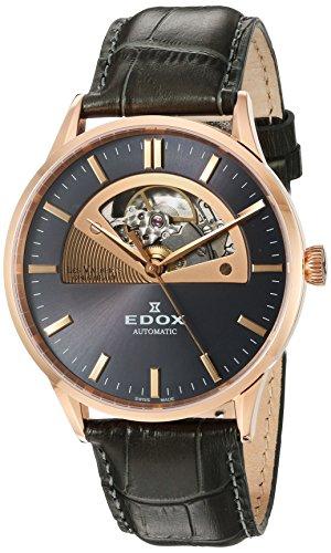 Edox Men's Les Vauberts 43mm Grey Leather Band Automatic Watch 85014 37R Gir