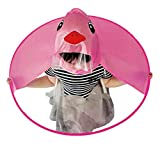 Regenschirm Kinder mit Hut Regenschirme Knirps Jungen Mädchen Niedlicher RegenmantelUFO Gelbe Ente Regenschirm Hut Kappe Hände Frei Regenmantel Regenschirm Winddicht (Hot Rosa, S)