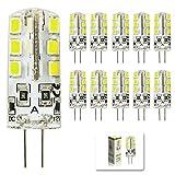 mengjay 10 Stück - 3W G4 LED leuchten, Ersatz für 30W Halogenlampen, DC 12V, 260lm, Kaltweiß, 6000K, 360° Abstrahwinkel