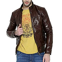 Bareskin Mens tan Leather Bomber Jacket(VNGJ-537-GL-09_S_Tan_Small)