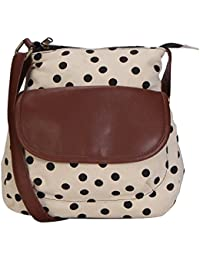 Suprino Beautiful Printed Cotton Canvas Polka Dot Sling Bag For Girls And Women's(Cream/Black)