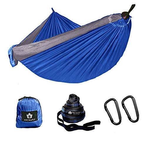 Ancmaple Camping Hängematte mit speziellen Baum-schonenden Gurten. Tragbare Hängematte aus Fallschirm-Nylon für Rucksack Reisen (Blau/Silbergrau)