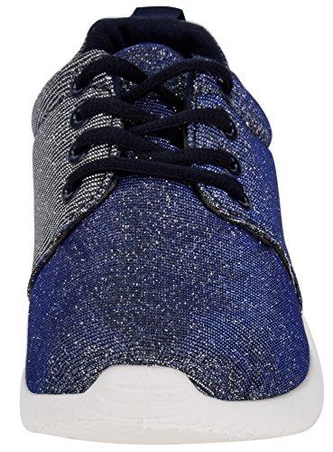 oodji Ultra Donna Scarpe da Ginnastica in Materiale Luccicante Blu (7900X)