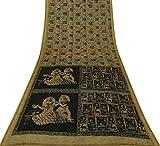 Vintage Indian ethnischen Sari reine Seide braun Saree