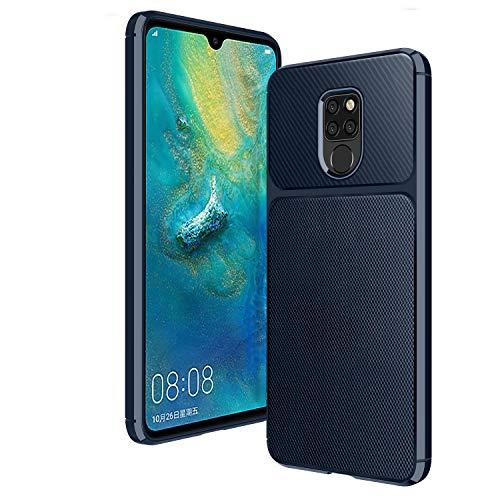 AIFIVE Huawei Mate 20 Hülle, Kohlefaser Design Cover Ultra dünn Anti-Schock schützende Silikon Hülle für Huawei Mate 20 (Blau)