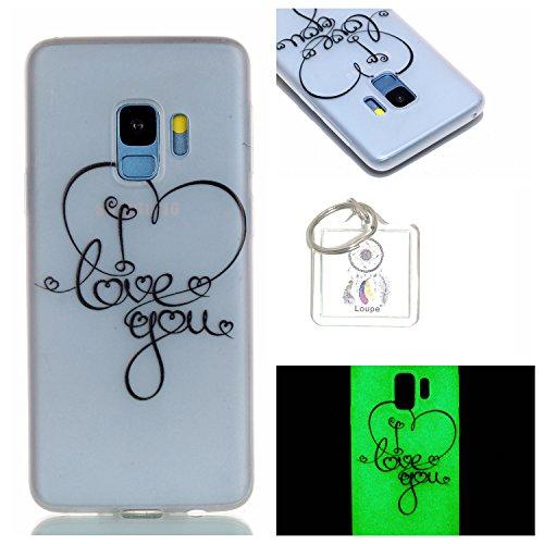 Preisvergleich Produktbild Hülle Leuchtende Galaxy S9 (5,8 Zoll) Silikon Etui Handy Hülle Weiche Transparente Luminous TPU Back Case Tasche Schale Leuchten In Der Nacht Für Samsung Galaxy S9 (5,8 Zoll) + Schlüsselanhänger (P) (10)