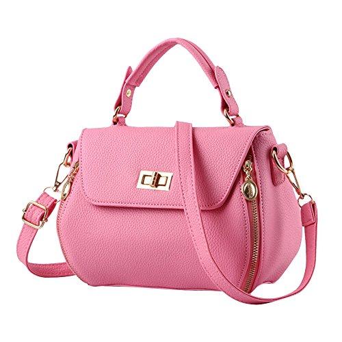 Donne Colore Puro Pelle Sintetica Piccola Borsa Crossbody Borsa a Tracolla Borsetta Bianco Pink