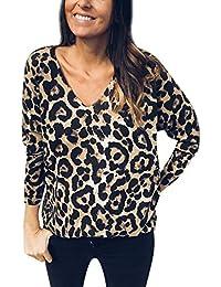 Amazon.es  Blusas De Leopardo - Camisetas de manga larga   Camisetas ... 3df6bcd18d6