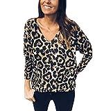Camisetas de Manga Larga para Mujer,Estampado de Leopardo Blusas para Mujer Verano...