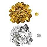 Homyl 200pcs Piratenmünzen Piratenschatz Spielzeug Münze Gold / Silber Münze für Piratenparty und Kindergeburtstag