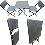 """Amaze"" Folding Light Weight Portable Dining Table Patio Dining Table Garden Dining Table Outdoor Dining Table Fast food parlor Ice cream parlor Restaurant dining table -Chair set - BROWN RATTAN DESIGN (2 Chairs + 1 Table) set"