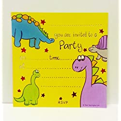 Paquete de 10fiesta de cumpleaños tarjeta de invitación diseño de dinosaurios hojas