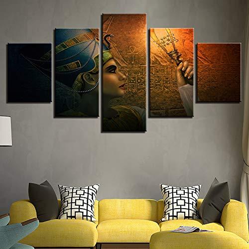 adgkitb canvas Arte de la Pared Cartel Decoración del Hogar Moderno Lienzo 5 Panel Diosa Egipcia Antigua Epic Imprimir Cuadro de Cuadros de la Pintura