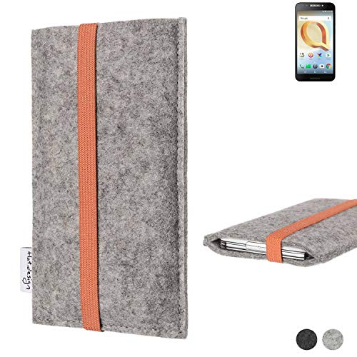 flat.design Handy Hülle Coimbra für Alcatel A30 Plus - Schutz Case Tasche Filz Made in Germany hellgrau orange