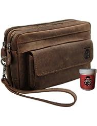 BARON de MALTZAHN - Bolso de mano para hombres SCHLUETER hecha de cuero marrón