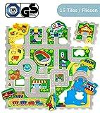 Hakuna Matte Puzzlematte für Babys City - TÜV SÜD GS Zertifiziert - 20% dickere Spielmatte in Einer umweltfreundlichen Verpackung - 16 Puzzlematten mit Straßen und 11 Fahrzeugen - 1,2x1,2m