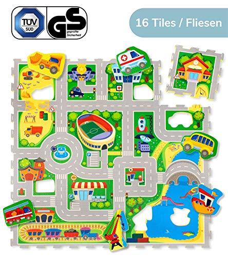Hakuna Matte Puzzlematte für Babys - TÜV SÜD GS Zertifiziert - 16 Schaumstoffplatten mit Straßen und 11 Fahrzeugen - 20% dickere Spielmatte in Einer Aufbewahrungstasche - 1,2x1,2m