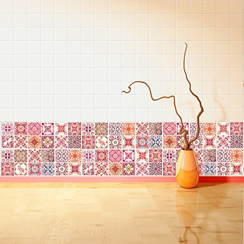 Walplus Wall Stickers Removable Self-Adhesive Mural Art Decals Vinyl Home Decoration DIY Living Bedroom Kitchen Décor Wallpaper Gift Moroccan Rose Red Mosaic Tile Sticker - 10 cm x 10 cm - 24 pcs