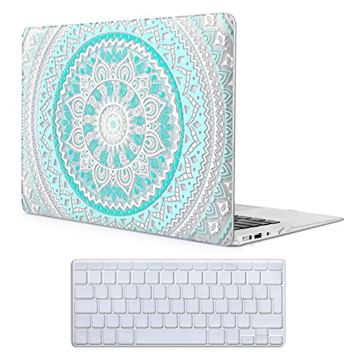 Case MacBook Air 13 Hülle Blau und weiß,iCasso Medallion Design Ultra Slim Dünn Kratzfeste matt rutschfest Hartschale Kunststoff Schutzhülle Snap case für MacBook Air 13 Zoll (Modell: A1369 / A1466) (Macbook Air Case Blau)