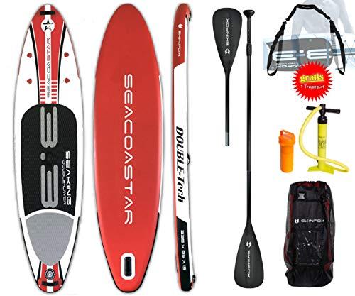 SEACOASTAR Aktion SEAKING ALU-Set (325x80x15) Double-Layer SUP Board Paddelboard rot inkl. GRATIS Tragegurt (Board,Bag,Pumpe,ALU SUP-/Kayak Paddel+Tragegurt)