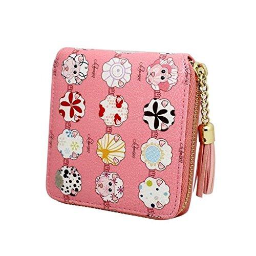 Preisvergleich Produktbild Tongshi Frauen Drucken Quaste Reißverschluss Kupplung Geldbeutel kurze Karte Halter Tasche Handtasche (hot pink)