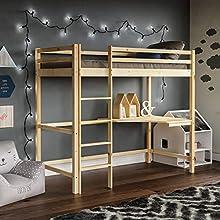 Vida Designs Sydney High Sleeper Bunk Bed, Solid Pine Wood Kids Loft Bed Frame With Desk, Perfect For Children, Single 3 Foot, Natural Pine